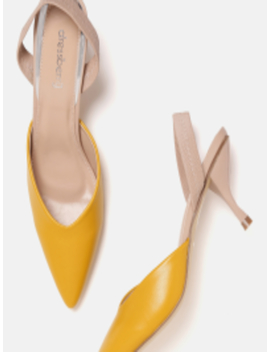 Women Mustard Yellow Solid Pumps by Dress Berry