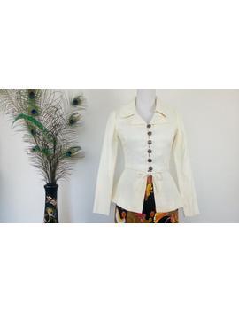 Vintage 70s Ivory Colour Corduroy Peplum Jacket Size Xs by Etsy