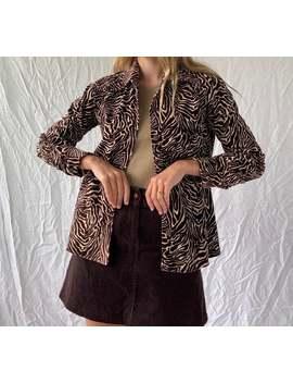 Vintage '90s Zebra Print Cotton Velvet Button Up Shirt Womens Au 8 10 (Small Medium) by Etsy