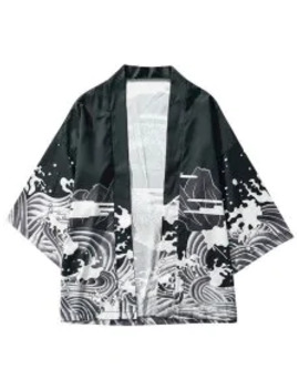 Hot Dragon And Wave Print Collarless Kimono Cardigan   Black S by Zaful