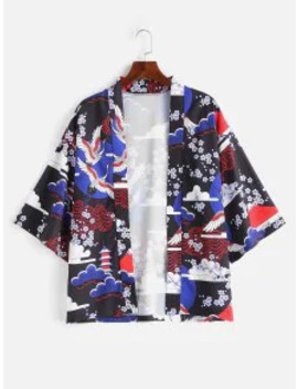 Sale Japanese Elements Print Kimono Jacket   Blue M by Zaful