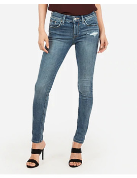 Mid Rise Medium Wash Ripped Jean Ankle Leggings by Express