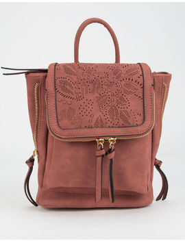 Violet Ray Kendall Floral Perforated Rust Mini Backpack by Violet Ray