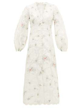 Zinnia Floral Embroidered Ramie Blend Dress by Zimmermann