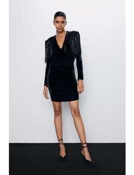 Vestito In Velluto Con Spalline E Frange by Zara