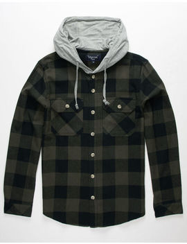 Vstr Buffalo Mens Hooded Flannel Shirt by Vstr