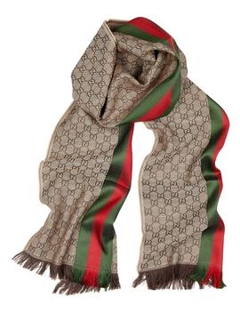 Gg Jacquard Striped Wool Blend Scarf by Gucci