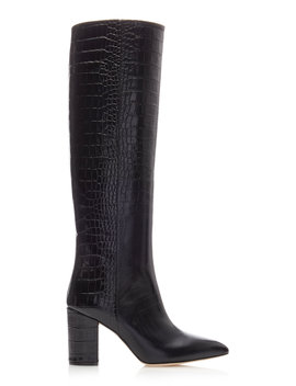 Croc Embossed High Heeled Leather Boots by Paris Texas