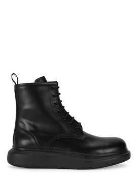 Larry Black Leather Ankle Boots by Alexander Mc Queen