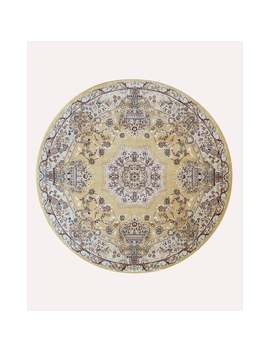 """Gold Traditional Oriental Tabriz Rug   5'11"""" Round by Eorc"""