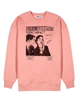Pink Printed Jersey Sweatshirt by Mc Q Alexander Mc Queen