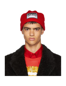 Red Boxer Logo Beanie by Versace
