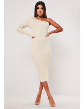 Sand Rib One Shoulder Knitted Midi Dress by Missguided