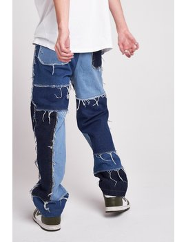 Frayed Patchwork Denim Skate Jeans by Jaded London