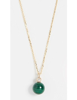 14k Malachite And Diamond Dot Necklace by Mateo