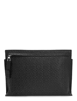 T Logo Embossed Leather Pouch by Loewe