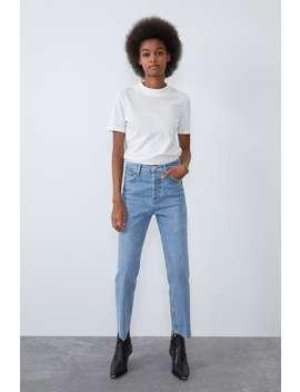 Spodnie Jeansowe Z Wysokim Stanem I Rozszerzanymi Nogawkami by Zara