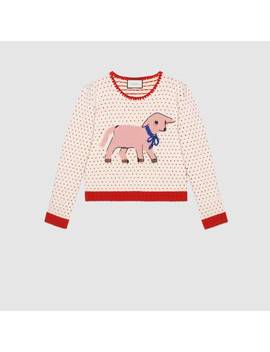 Heart Wool Sweater With Lamb Intarsia by Gucci