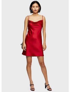 Red Cowl Neck Slip Dress by Miss Selfridge