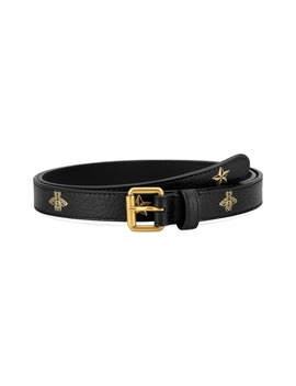 Bee & Star Print Leather Belt by Gucci