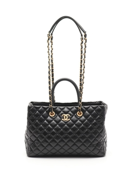 Chanel Matelasse Chain Shoulder Bag Leather Black Gold Fittings 2 Way by Chanel