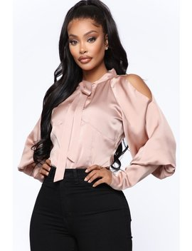 All For The Attention Satin Top   Mocha by Fashion Nova