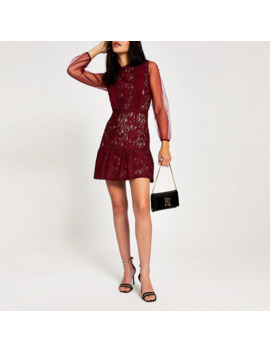 Forever Unique Red Lace Waisted Mini Dress by River Island