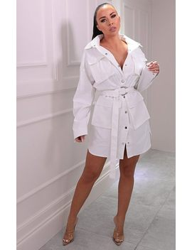 White Utility Belted Dress   Haydan by Femme Luxe