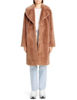 Camille Faux Fur Cocoon Coat by Stand Studio