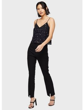 Black Beaded Gem Camisole Top by Miss Selfridge