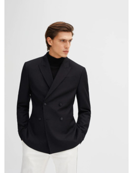 Slim Fit Double Breasted Suit Blazer by Mango