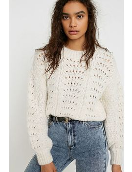 Uo Pointelle Cinched Knit Jumper by Urban Outfitters