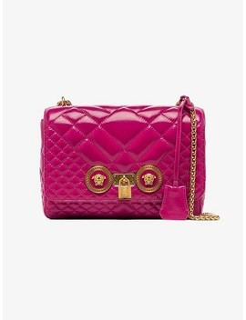 Pink Medium Icon Patent Leather Shoulder Bag by Versace