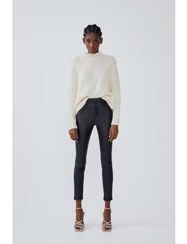 Legging Met Hoge Taille En Gelooid Leer Effect by Zara