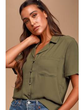 Good Luck Charm Olive Green Short Sleeve Button Up Top by Lulus