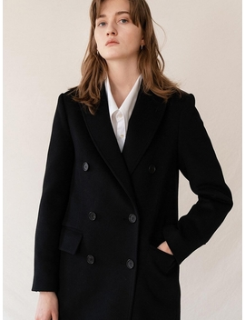 Cashemere Double Breasted Coat Black by Kindersalmon