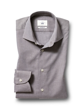 Moss 1851 Tailored Fit Beige Single Cuff Brushed Twill Shirt by Moss Bros