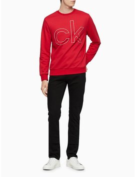 Regular Fit Metallic Logo Crewneck Sweatshirt by Calvin Klein