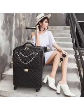 "Kaweida Spinner Leather 24"" Travel Suitcase On Wheel Trolley 20 Hand Luggage For Women Rolling Luggage by D Hgate.Com"
