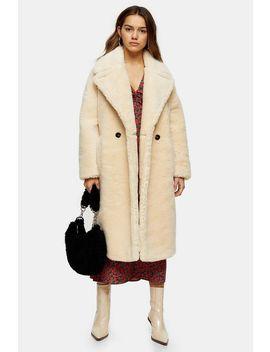 Petite Cream Maxi Length Borg Coat by Topshop