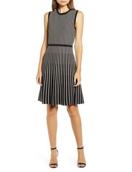 Stripe Fit & Flare Sweater Dress by Anne Klein