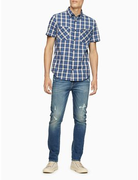 Regular Fit Ombre Plaid Short Sleeve Shirt by Calvin Klein