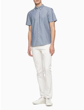 Classic Fit Yarn Dyed Vertical Stripe Short Sleeve Shirt by Calvin Klein
