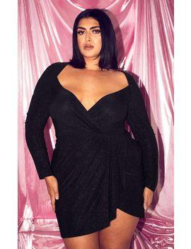 Plus Black Glitter Pleat Front Bodycon Dress  by Prettylittlething