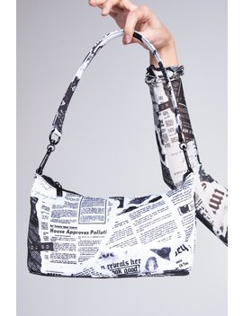 Black & White Newspaper Print Shoulder Bag by Jaded London