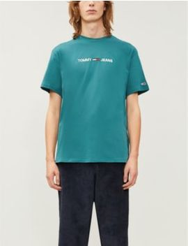 Logo Embroidered Cotton T Shirt by Tommy Jeans