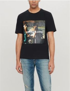 Photo Print Cotton Jersey T Shirt by Ck Jeans