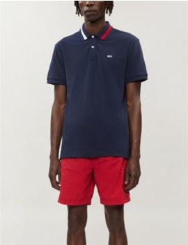 Logo Embroidered Cotton Piqué Polo Shirt by Tommy Jeans