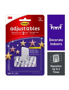 Command Adjustables Repositionable Hooks, 10 Hooks, 20 Strips, 17831 Clr 10 Es by Command
