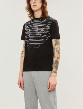 Eagle Logo Cotton Jersey T Shirt by Emporio Armani